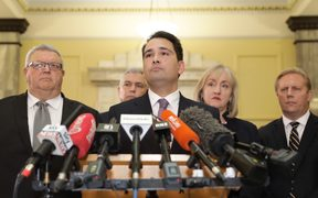 National Party leader Simon Bridges talks about the leak of a text on the person behind an earlier leak on his expense spending.