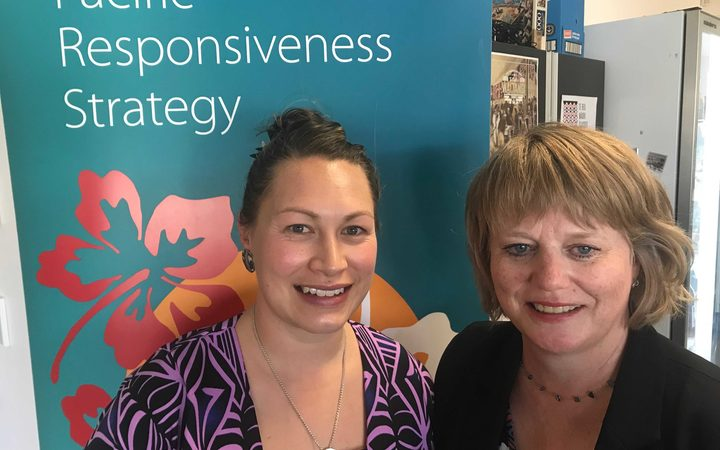 Pacific Pharmacists' Association president Kasey Brown (left) and PHARMAC's chief executive, Sarah Fitt.