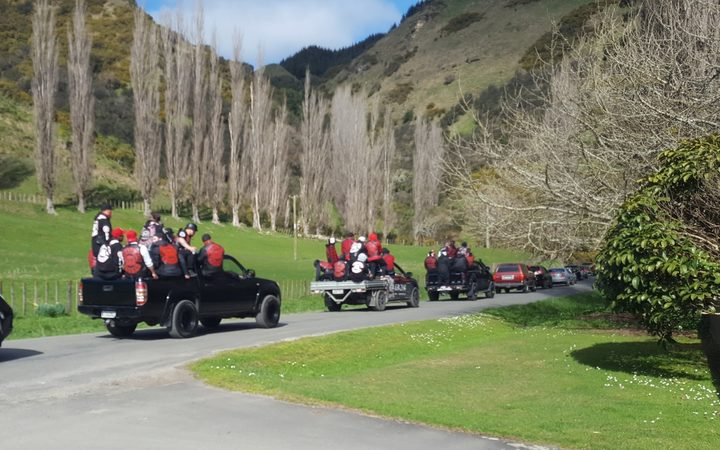 About a half a dozen Harley Davidson motorcycles heralded Kevin Ratana's arrival at the urupā at Pungarehu marae.