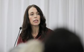 Jacinda Ardern talks to business leaders in Auckland.