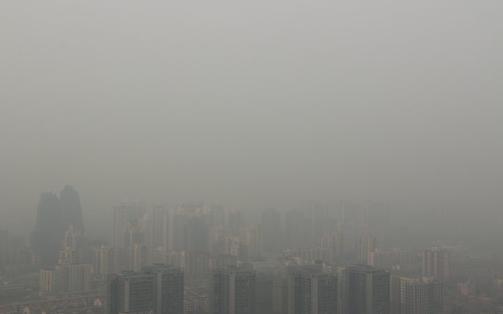 Authorities in Beijing issued a blue alert for pollution after the air quality index reached around 300 on 2 April.
