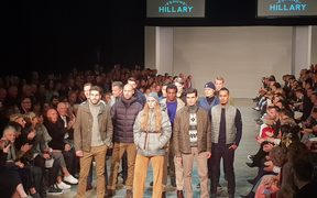 Sir Edmund Hillary's grandchildren George (left), Lily and Alexander at New Zealand Fashion Week.
