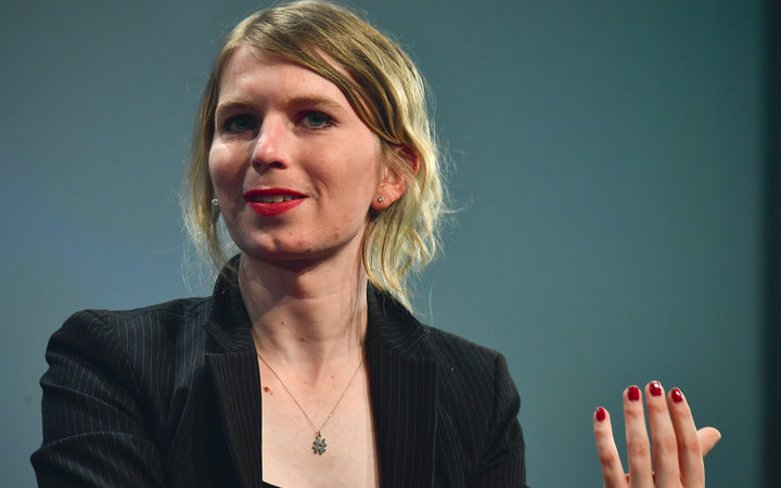 Chelsea Manning speaks at a digital media convention in Berlin, on May 2, 2018.
