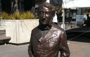 A statue in civic square Hamilton of Captain John Hamilton who the city is named after.