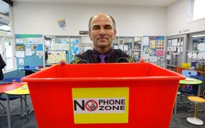 East Otago High School Deputy Principal Keith Fleury. Even teachers phones go in the box