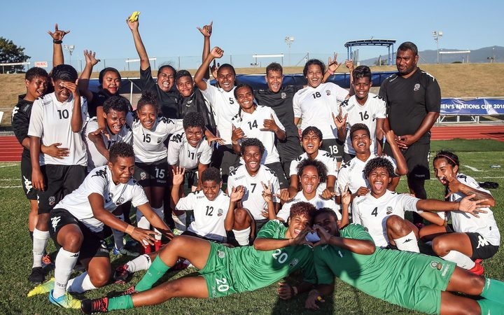 Fiji celebrate qualifying for the OFC Women's Nations Cup.