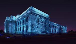 Auckland Museum with projected image of Antarctica