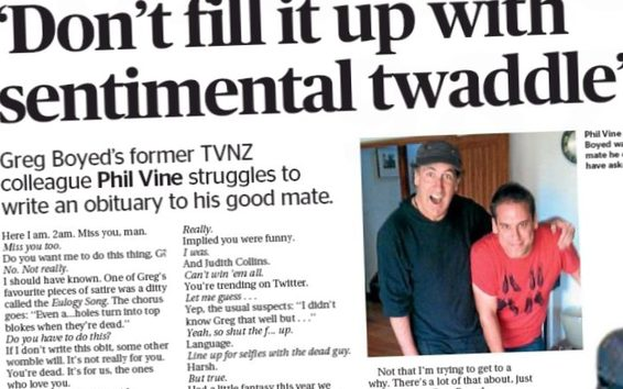 An unorthodox obit for Greg Boyd in the Sunday Star Times from his friend Phil Vine.