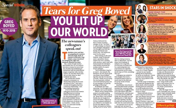 Women's magazines like New Idea also marked the death of Greg Boyd with tributes.