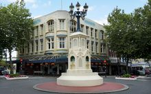 Whanganui CBD. Watt Fountain in the foreground.