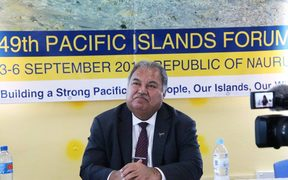 Nauru President, Baron Waqa, addresses members of the media