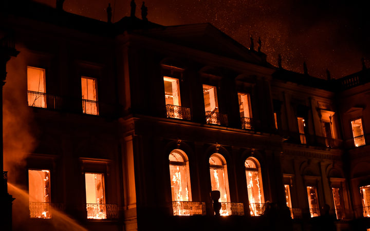 brazil s 200 year old national museum hit by huge fire rnz news