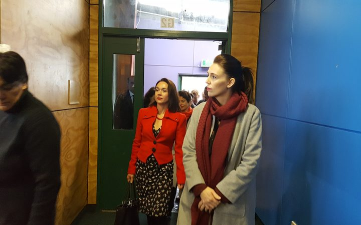 Prime Minister Jacinda Ardern and Hutt South MP Ginny Anderson at Wainuiomata High School.