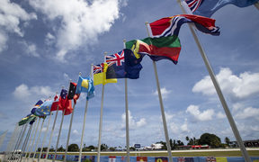 National flags in Nauru for the Pacific Islands Forum.
