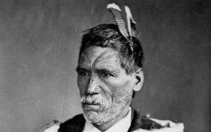 Ngāti Maniapoto chief Rewi Maniapoto taken in 1879. He led the Kingitanga forces during the New Zealand government Invasion of Waikato during the New Zealand Wars.