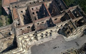 Rio de Janeiro's treasured National Museum, one of Brazil's oldest, a day after a massive fire ripped through the building.