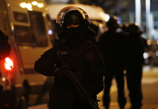 Police operation in Saint-Denis, near Paris on November 18, 2015, five days after Paris terror attacks.