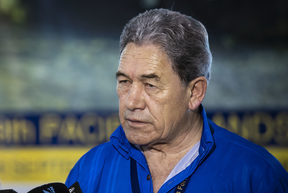 Minister of Foreign Affiars Winston Peters speaks to the media after his meeting with Australian Minister of Foreign Affairs Marice Payne in Nauru during the Pacific Island Forum.