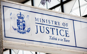Ministry of Justice sign outside the Auckland District Court