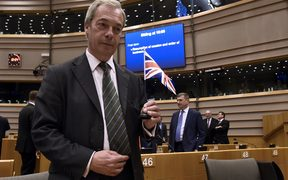 UK Independence Party leader Nigel Farage at the plenary session at the EU headquarters in Brussels.