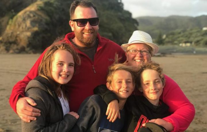 Young bus crash victim Hannah Francis with her family - her dad Matthew, step-mum Christina and step-brothers Joshua (left) and Caleb (right).