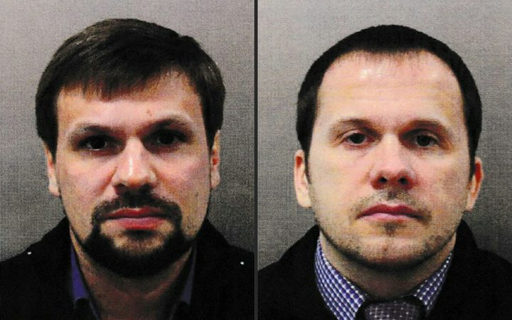 Ruslan Boshirov, left, and Alexander Petrov, have been named as suspects in the nerve agent attack on former Russian spy Sergei Skripal and his daughter Yulia.