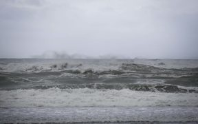 West Coast storm. The Tasman Sea looking wild as the storm sets in. Authorities are keeping an eye on the midday king tide.