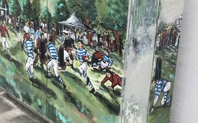 At Nelson's Botanical Reserve in 1870, two local teams played the first rugby game in New Zealand. The historic first game is remembered in an artistic rendition on an electrical box.