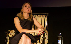 US whistleblower Chelsea Manning addresses the audience at the Embassy Theatre in Wellington.