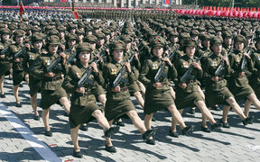 Soldiers march during a parade to celebrate the 70th anniversary of the founding of the Democratic People's Republic of Korea (DPRK)