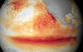 An image showing the 2015 El Niño with rising temperatures in the Pacific.
