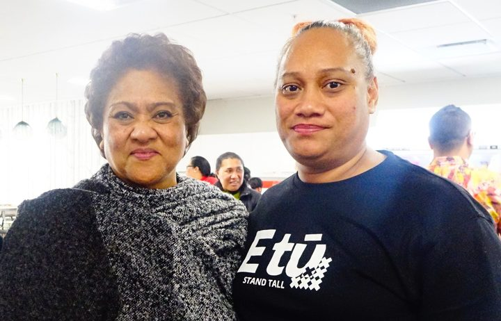 Maria Latu (R) works 60 hours a week as a team leader and is paid $17 an hour.