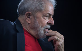 Brazil's former president Luiz Inacio Lula da Silva gestures during an interview in Sao Paulo, Brazil.