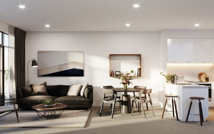 An artist's impression of inside the KiwiBuild apartment in Onehunga.
