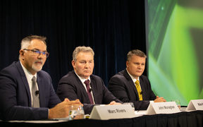 Fonterra's chief financial officer Marc Rivers (L), Chairman John Monaghan and interim chief executive Miles Hurrell.