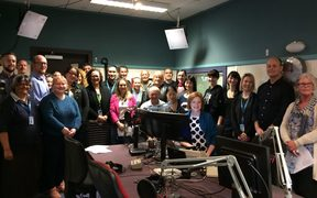 The Land Information NZ waiata team in the Morning Report studio to sing Purea Nei at the end of Te Wiki o Te Reo Māori 2018.