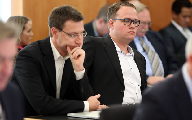 Megaupload executives Mathias Ortmann (L) and Bram van der Kolk (R)