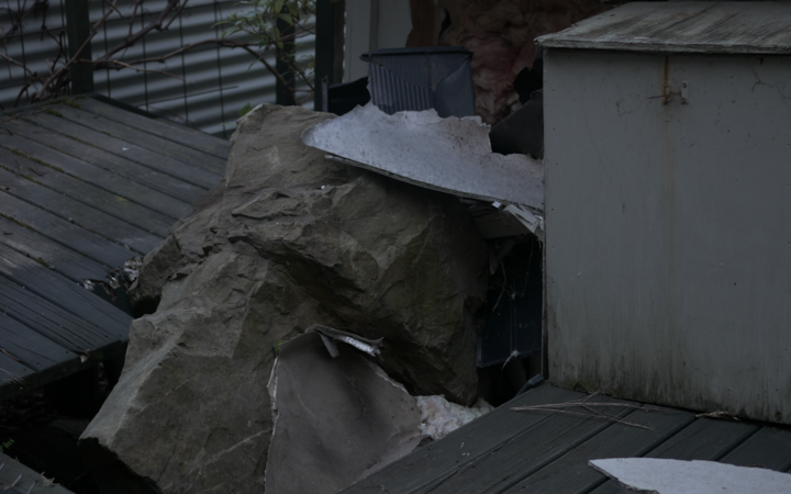 A large boulder that smashed into a house in Rakautara during the 2016 earthquake.