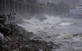 Strong waves caused by super Typhoon Mangkhut are seen in Manila.