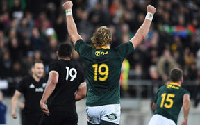 Springboks' RG Snyman celebrates at the final whistle.