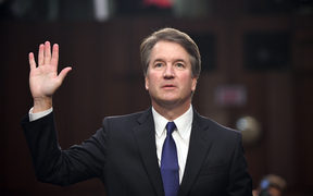 Judge Brett Kavanaugh is sworn in during his US Senate Judiciary Committee confirmation hearing to be an Associate Justice on the US Supreme Court in Washington.