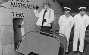 Miss New Zealand 1949 Mary Woodward boards the Tasman Empire Airways aircraft, RMA Australia.