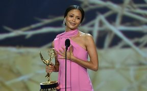 Thandie Newton accepts the Outstanding Supporting Actress in a Drama Series award for 'Westworld' during the 70th Emmy Awards.