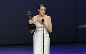 Claire Foy accepts the Emmy award for Outstanding Lead Actress in a Drama Series for 'The Crown'.
