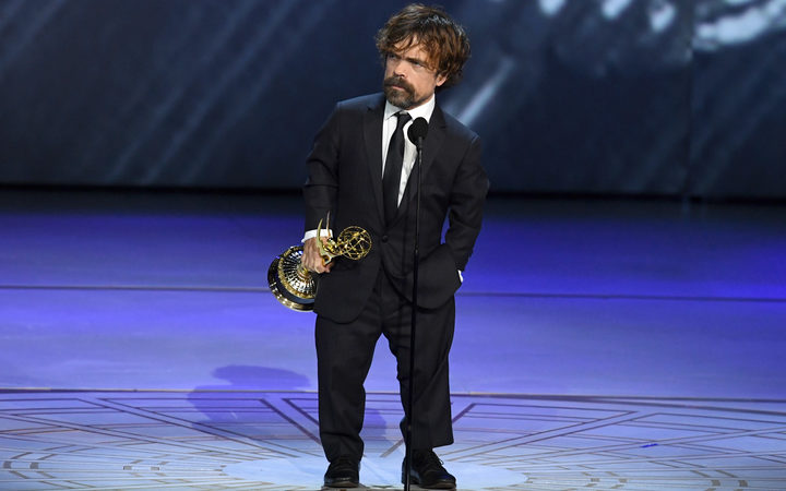 Peter Dinklage accepts the Emmy for Outstanding Supporting Actor in a Drama Series.