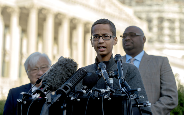 Ahmed Mohamed speaks during a news conference on Capitol Hill in Washington DC on 20 October 2015.