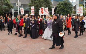 Aucklanders attend the 'sunrise ceremony' to celebrate Suffrage Day in 2018.
