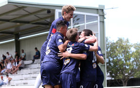 Auckland celebrate Leon Van Den Hoven's goal. Auckland City defeat Tasman United 5 - 2 to take out the 2017 National Youth League Title, NYL, Auckland City FC v Tasman United, Kiwitea Street Auckland, Saturday 16th December 2017. Photo: Shane Wenzlick / www.phototek.nz