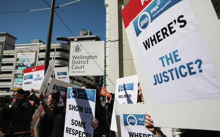 Court workers in Wellington were among 2000 staff who went on strike for two hours on Wednesday for higher pay and better conditions.