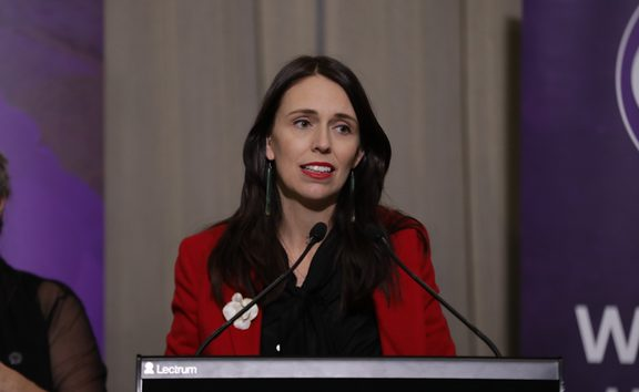 Prime Minister Jacinda Ardern at the Parliament suffrage event.